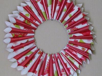 DIY Christmas Wreath Holiday Gift Wrap Wreath Arts & Craft #7