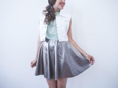 DIY easy metallic circular skirt - skater skirt tutorial