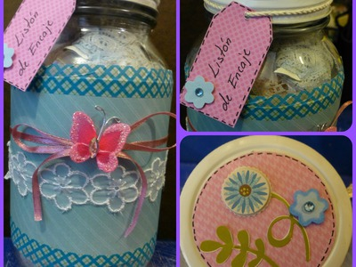 DIY: Frasco decorado (tipo scrapbook). Jar craft tutorial