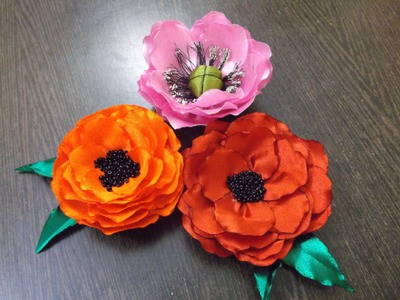 D.I.Y. Satin Ribbon Poppy Flowers - Tutorial