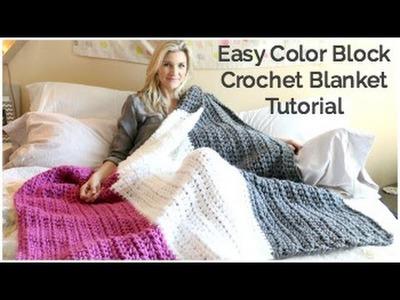 Easy Color Block Crochet Blanket