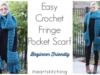 Easy Crochet Pocket Fringe Scarf