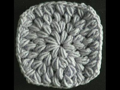 Easy Crochet Puff Stitch Granny Square (Pillow)