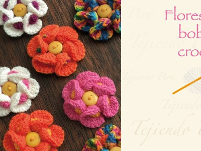 Flores 3D bobble crochet. English subtitles: Bobble crochet 3D flower