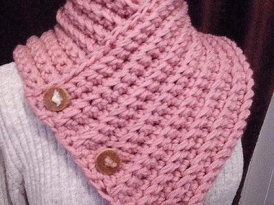 How to crochet A BUTTONED WRAP SCARF COWL, crochet pattern, vid # 979