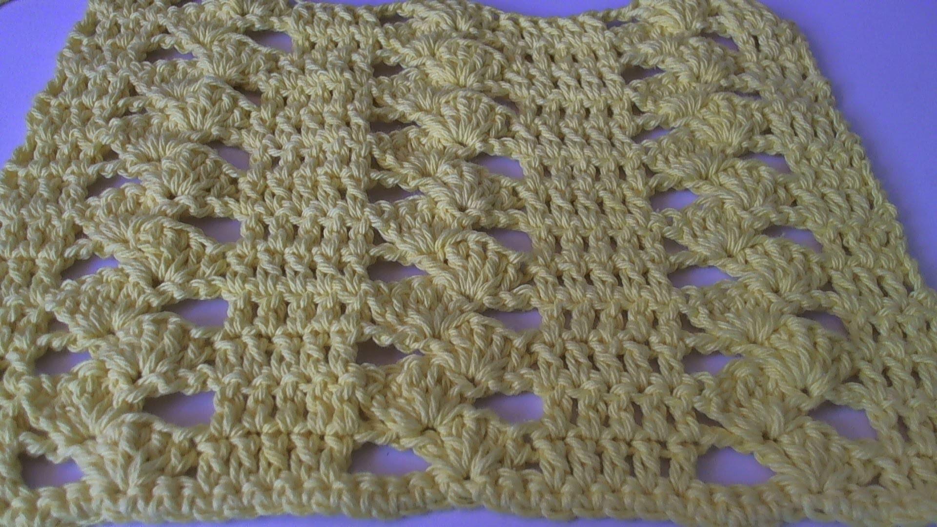 How to crochet a dishcloth - Drunk clusters design. Tambien en espanol