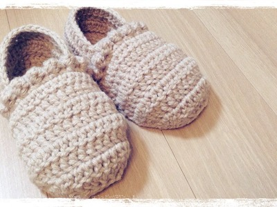 How to crochet a slippers (1.3) ルームシューズの編み方 by meetang