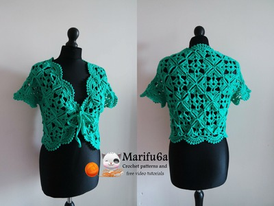 How to crochet bolero shrug with motifs free pattern tutorial by marifu6a