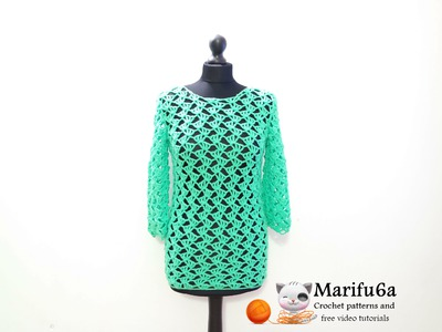How to crochet green pullover sweater tunic by marifu6a  video tutorial