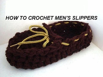 HOW TO CROCHET Men's Slippers, crochet pattern, boys slippers, moccasins, house shoes