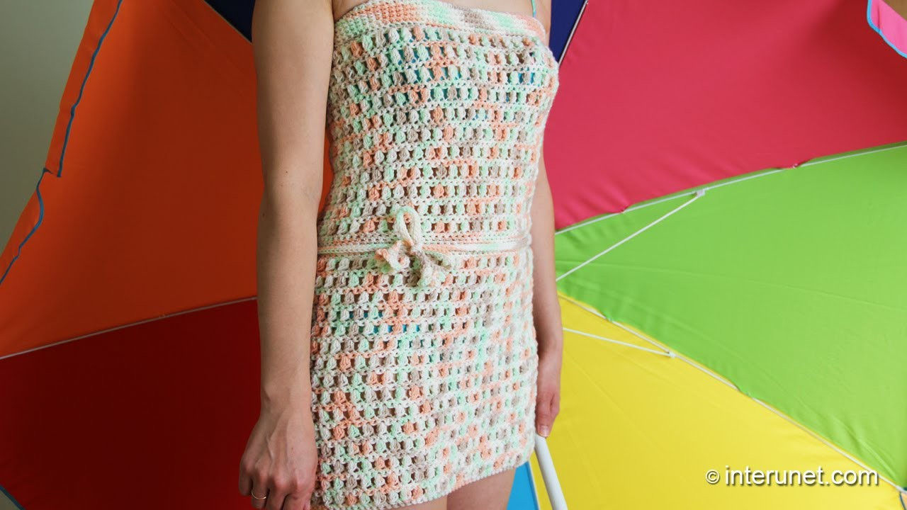 How to crochet tube beach cover-up dress using nuts pattern
