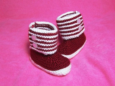 How to Knit Boot Style Red and White Baby Booties Part 2 - Right Bootie