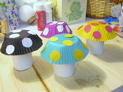 How to make a Mushroom from Toilet Paper Tube & Cupcake Liner Craft #9