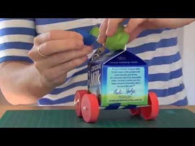 How to Recycled craft: balloon-powered milk carton car
