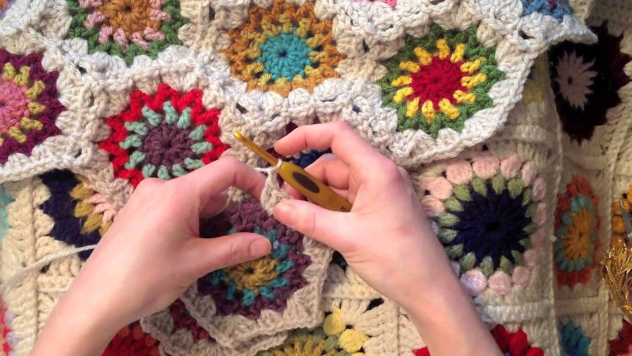 Indie Lovely hexie join as you go crochet pattern and tutorial