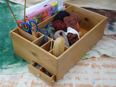 Knitting box. and how to make easy finger joints. Woodworking joint jig.