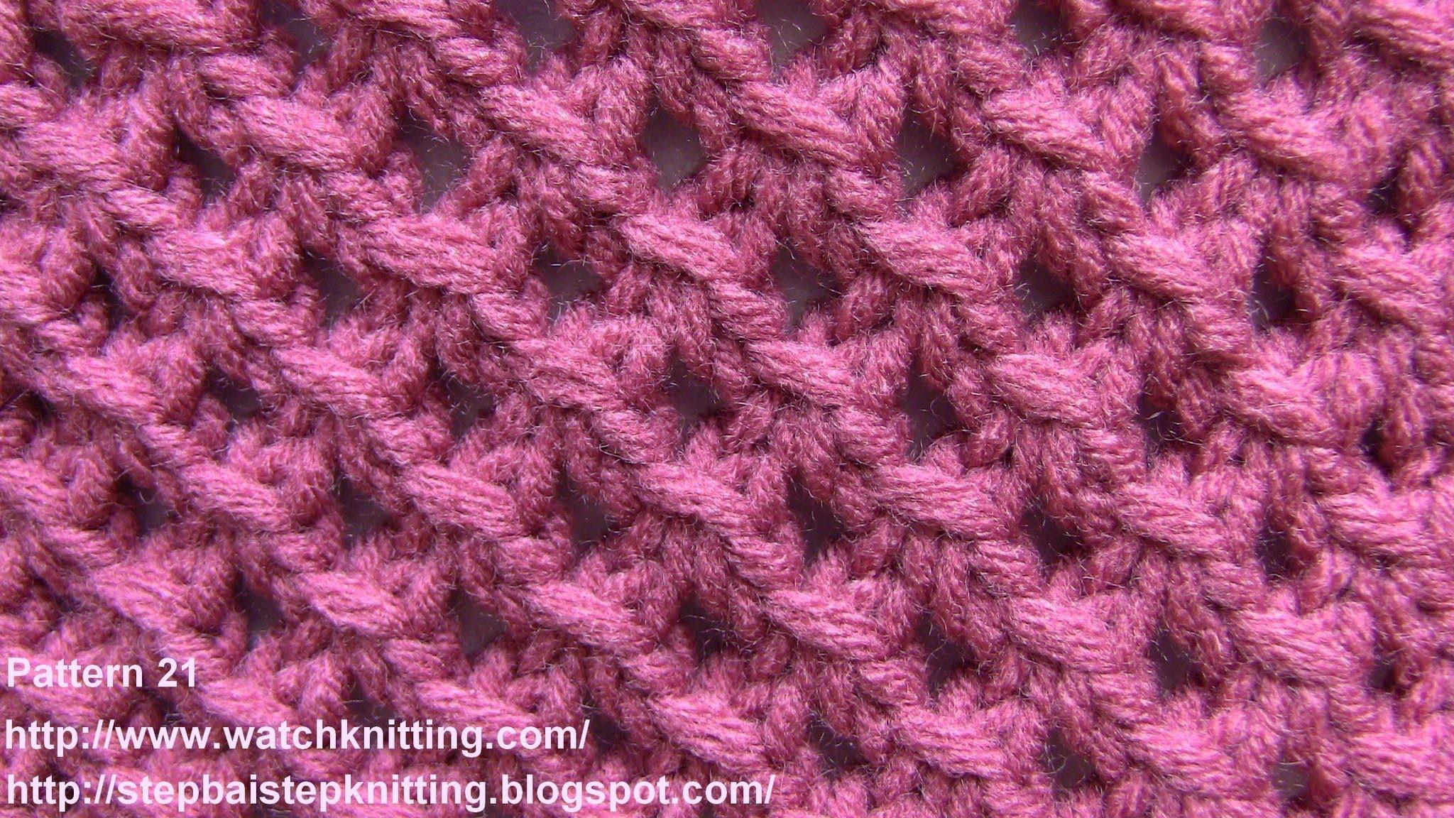 Lace Knitting Patterns- Free Knitting Tutorials - Watch Knitting- pattern 21 - Lattice grid