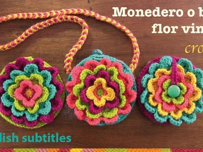 Mini tutorial # 12: monedero Flor vintage a crochet. English subtitles: blooming flower purse