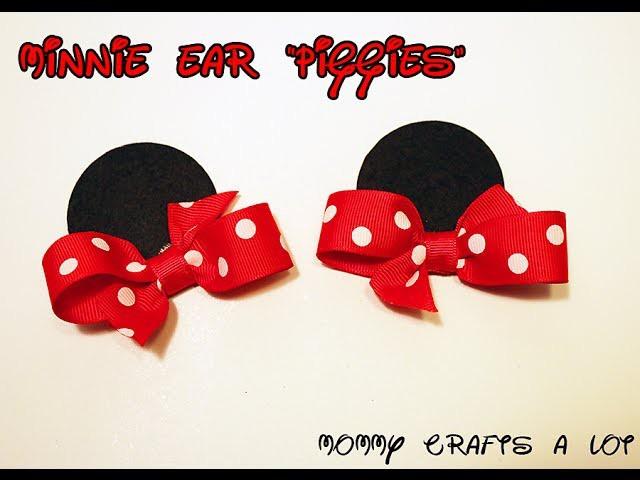 Minnie Mouse inspired ears hair bow tutorial How to make Minnie ears DIY