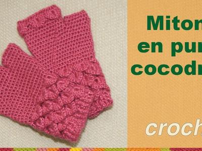 Mitones tejidos a crochet en punto cocodrilo o escamas