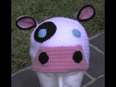 Moo Cow Crochet Hat Tutorial Part 1 of 2