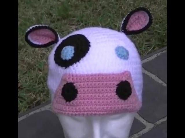 Moo Cow Crochet Hat Tutorial Part 1 of 2