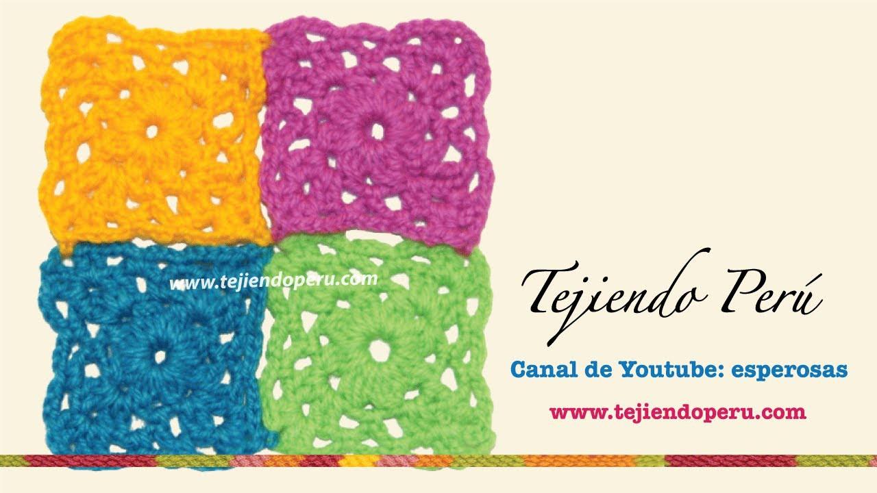Motivo o pastilla cuadrada tejida en crochet # 2