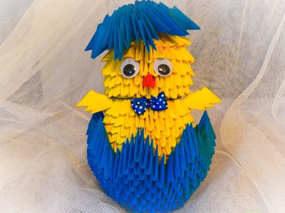 Origami kurczak 3D. how to make a chick DIY wielkanocny tutorial
