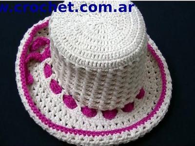 Sombrero Punto Cruzado en tejido crochet tutorial paso a paso.
