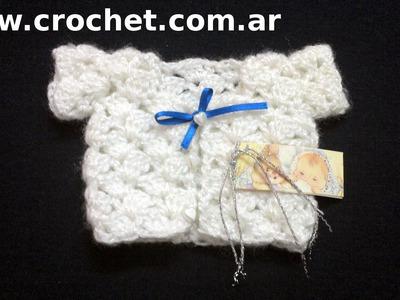 Souvenirs Modelo Saco para nacimiento bebe en tejido crochet tutorial paso a paso.