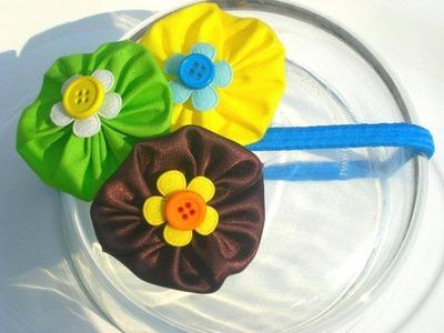 Tutorial accesorios flores de tela cabello DIY