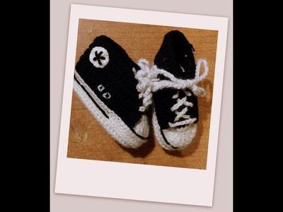 "Tutorial uncinetto - le scarpine bebè modello ""All Star""  - baby booties crochet - zapatitos crochet"
