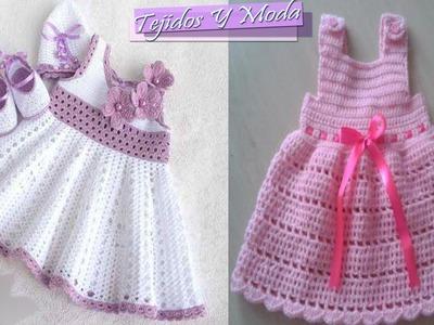 Vestidos Para Bebe Niña Con Patrones - Tejidos a Crochet