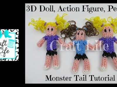 Craft Life 3D Doll Figurine Action Figure Person Tutorial on a Rainbow Loom Monster Tail