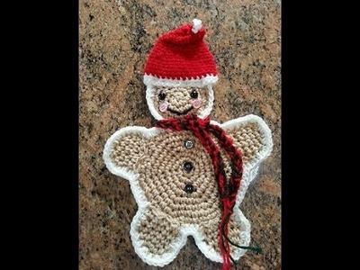 Crochet easy gingerbread man hot pad potholder DIY tutorial