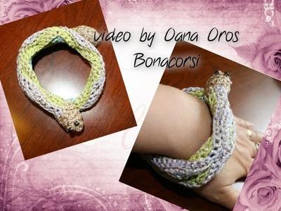 Crochet ripple cuff bracelet