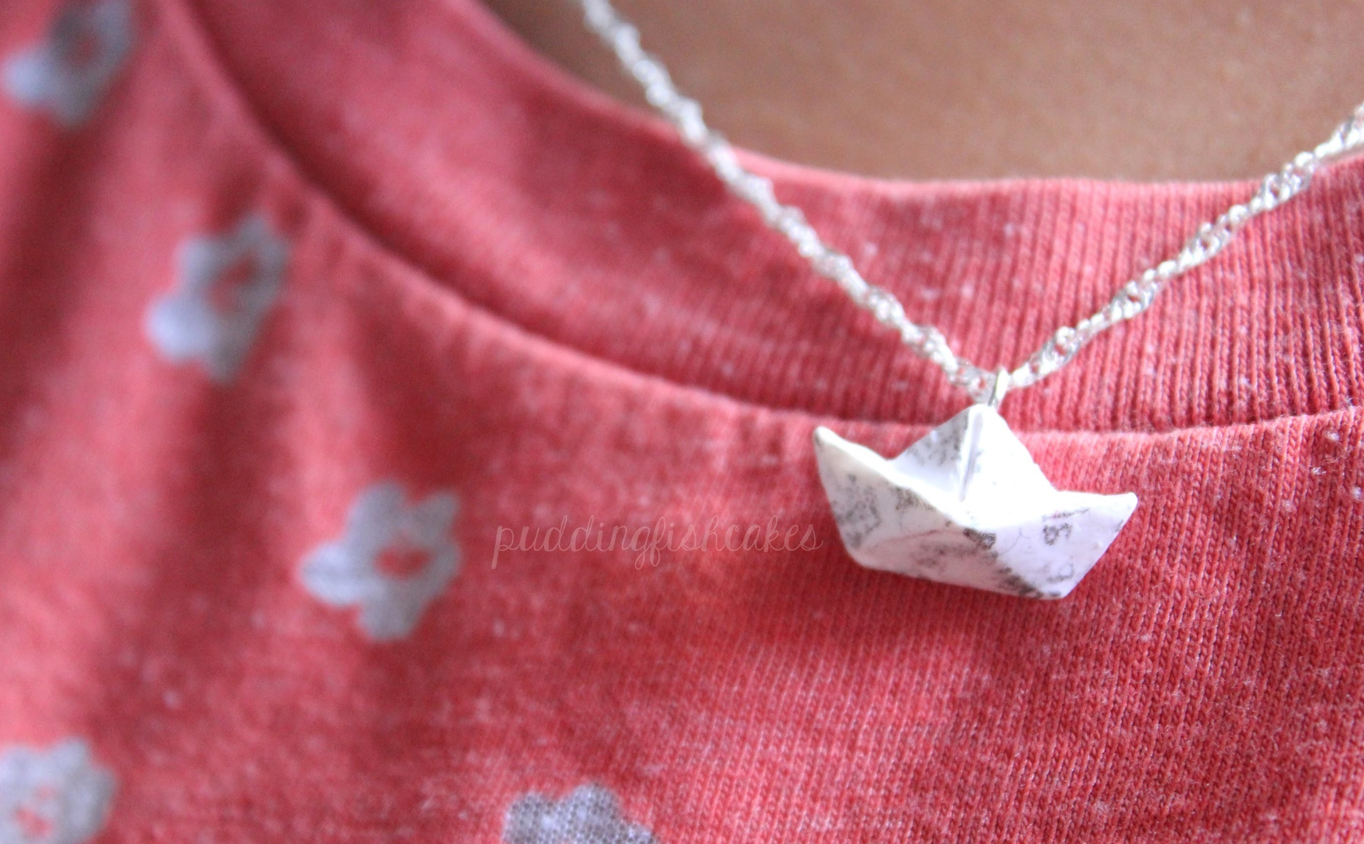 DIY: Polymer Clay Newspaper Boat Necklace