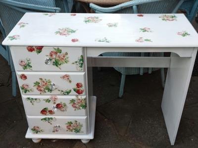 DIY:Vintage Shabby Chic Romantic Desk!!!Transform Your Old Furniture!!!