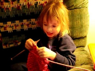 Four year old knitting