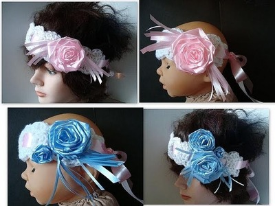 How to crochet a SHELL EDGE HEADBAND, BRIDAL, CHRISTENING, HOLIDAY style