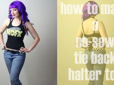 How to Make a No-Sew Tie Back Halter Top - DiY Fashion Tutorial