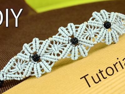 Macramé Flower Bracelet Tutorial ✿✿✿