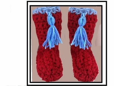 RED BOOT SLIPPERS, by carlitto, free crochet pattern