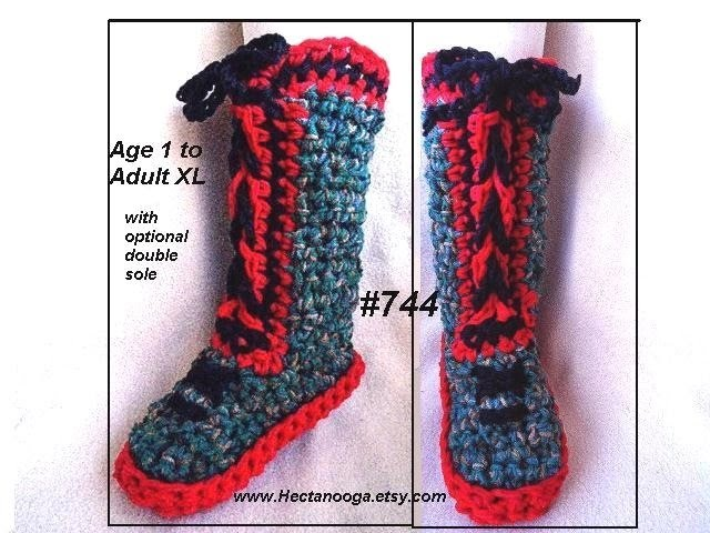 RED SOLE CROCHETED SLIPPERS, Tall Laced Up Boot Style Crochet Slippers.