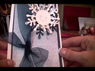 Spellbinder Snowflake card, using Post it Craft Paper and Peachy Keen faces