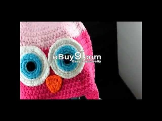 Toddler Baby Owl Ear Flap Crochet Beanie Photography Photo Handmade Hat