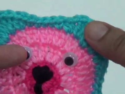 Crochet Granny  Square Bear Applique-3