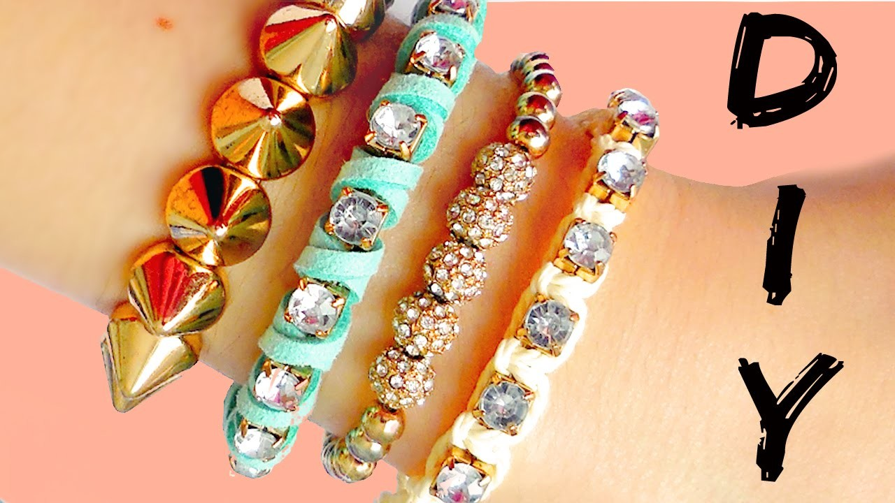 DIY friendship bracelets! EASY Rhinestone bracelets ideas!