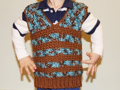 How to crochet boy's vest sweater - video tutorial for beginners