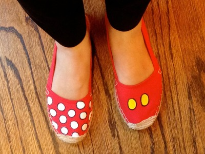 How To: DIY Disney Mickey Minnie Mouse Inspired Shoes Tutorial (Family Disney Coordinated Outfits)
